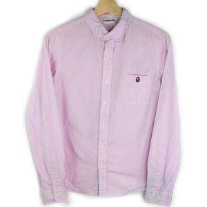Bathing Ape BAPE Pink Checkered Head Logo Shirt